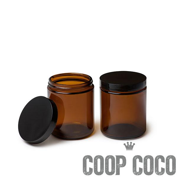 pot verre ambre couvercle noir 240ml coop coco. Black Bedroom Furniture Sets. Home Design Ideas